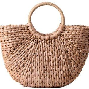 Natural Chic Straw Bag Hand Woven Round Handle Bag